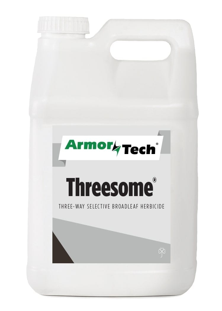 white bottle of Armortech threesome turf herbicide
