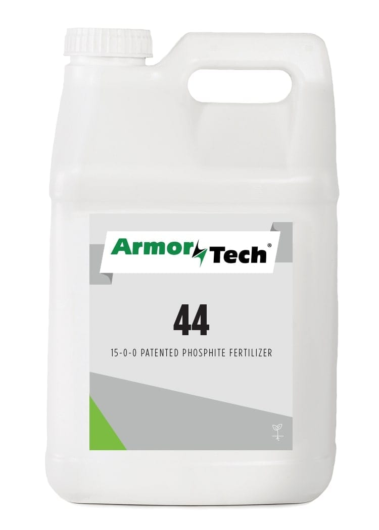 white bottle of armortech 44 liquid turf fertilizer