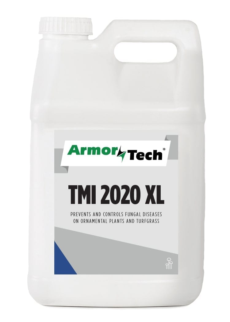 white bottle of Armortech tmi 2020 turf fungicide