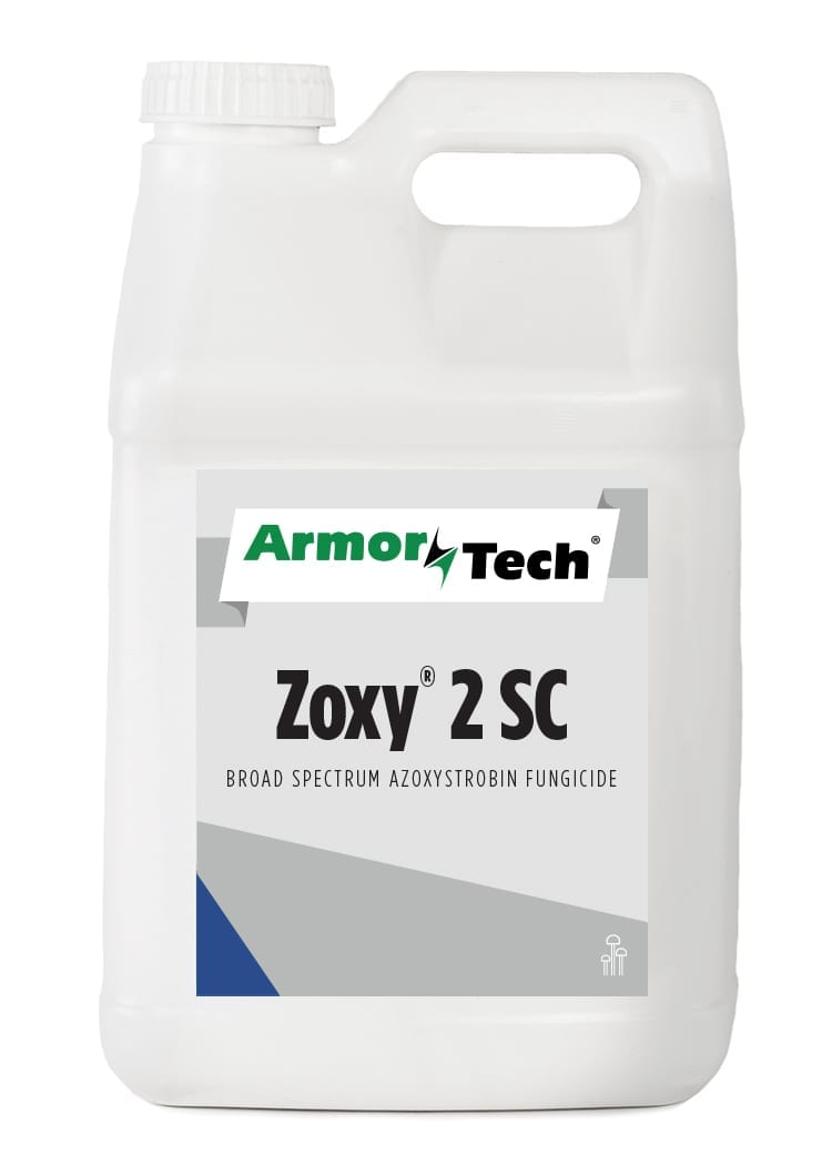 white bottle of Armortech Zoxy 2 SC turf fungicide